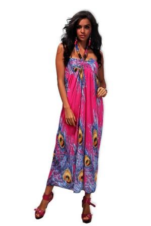 Dlouhé letní šaty se zavazováním za krkem fialové, vel. M/L | Letní maxi šaty s motivem pavích per a výraznými barvami z lehkého, chladivého materiálu