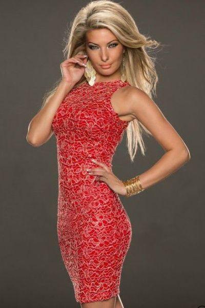 1006bac512a Koktejlové šaty bez rukávů s plastickou krajkou - červené