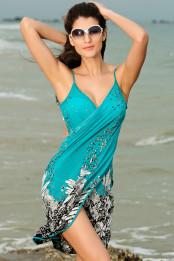 1ebe0b2da9e Lehké plážové zavinovací pareo s květinovým vzorem modré