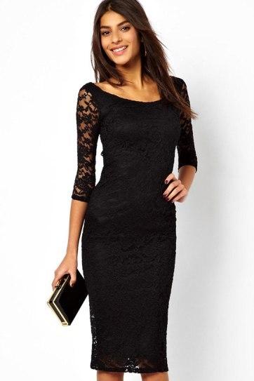 Krajkové večerní midi šaty pod kolena s kratšími rukávy černé  164c6a0215
