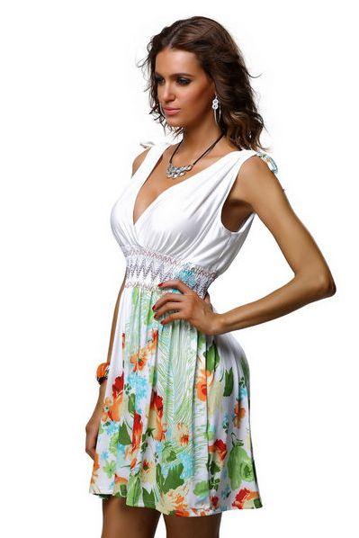 Krátké letní šaty s žabičkovým pasem bílé   potisk květin  e7e458e664