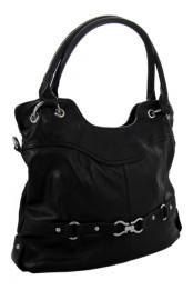 Dámska vetsi kabelka pres rameno se stylovym paskem ve spodni casti cerna K-105-1