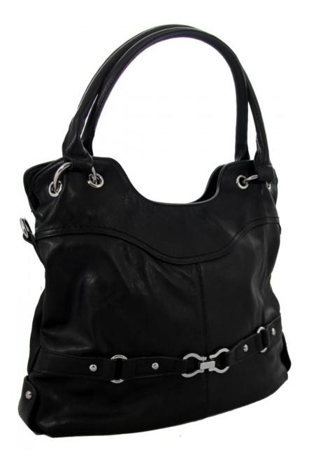 Dámska vetsi kabelka pres rameno se stylovym paskem ve spodni casti cerna  K-105- d8c570eaaf