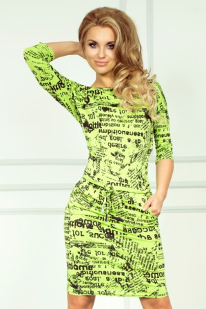Sportovní šaty s 3/4 rukávy zelené, vel. M|Volnočasové šaty se stahovací šňůrkou kolem pasu pro denní nošení