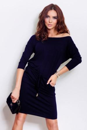 Dámské denní šaty tmavě modré, vel. S|Denní sportovní šaty volnějšího střihu s 3/4 rukávy s možností stáhnutí kolem pasu