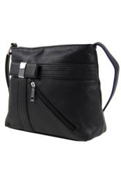 Mala crossbody kabelka s kapsou na zip pres rameno cerna K-101-1