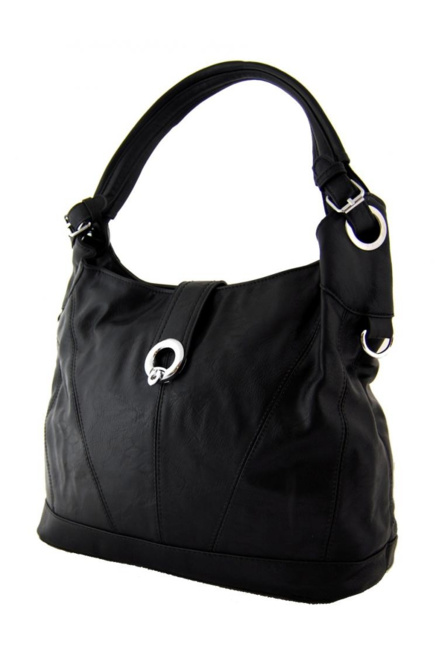 e0bb21754 Středně velká moderní kabelka na rameno i do ruky černá | Amodio