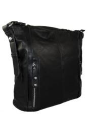 Velka kabelka pres rameno se svislymi zipy na celni strane cerna K103-1