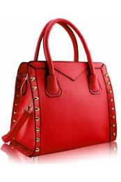 Damska kabelka na rameno i do ruky s ozdobnymi cvoky luxusni – cervena K-113-1-1