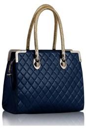 Kabelka modni luxusne pusobici do ruky se zlatymi ruckami - modra K-119-1-1