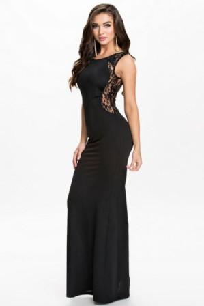 Elegantní dlouhé plesové šaty s krajkovými detaily černé 4880