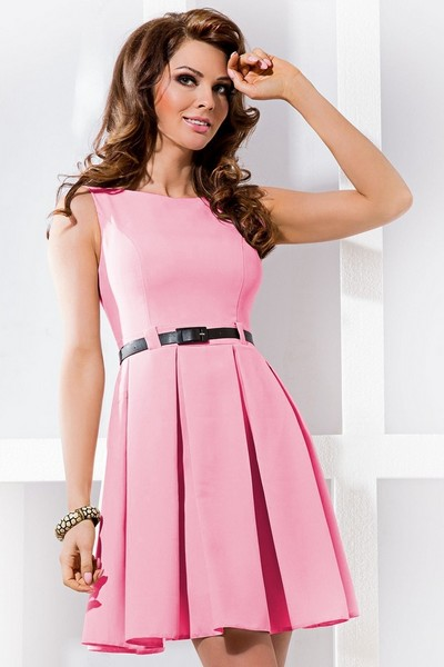 Kratsi spolecenske saty se skladanou sukni bez rukavu ruzove S-190-PK 6ab50c63b7