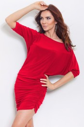 Volnejsi elasticke saty - tunika na jedno rameno cervene S-184-1-1