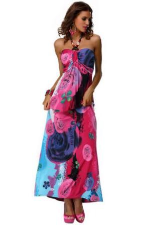Barevné letní šaty dlouhé, vel. UNI (S-L) | Letní maxi šaty jednoduchého, splývavého střihu se zdobeným dekoltem a zavazováním za krkem
