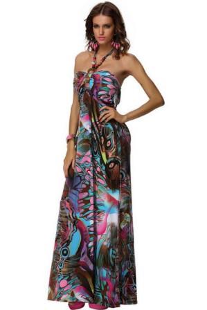 Dlouhé letní šaty barevné, vel. XL/XXL | Dámské maxi šaty s pestrobarevným potiskem a zavazováním okolo krku ideální nejen na dovolenou k moři