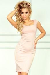 Pouzdrové společenské šaty s kulatým výstřihem růžové bf30218319