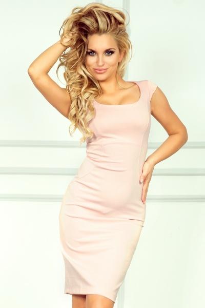 c31b1787d458 Pouzdrové společenské šaty s kulatým výstřihem růžové