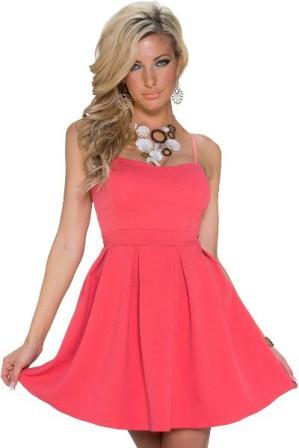 Krátké společenské šaty se skládanou sukní růžové 5606