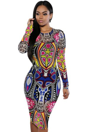 Pestrobarevné elastické šaty s dlouhými rukávy 5616