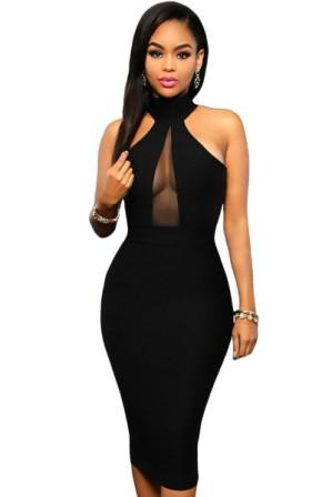 Elegantní šaty bez rukávů se zapínám za krkem- černé 6036