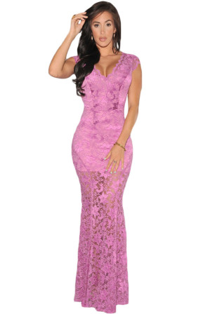 Dlouhé krajkové šaty s hlubokým výstřihem na zádech- fialové 6293