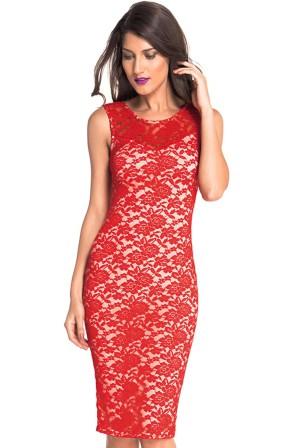 Krajkové šaty bez rukávů délky po kolena- červené 6470