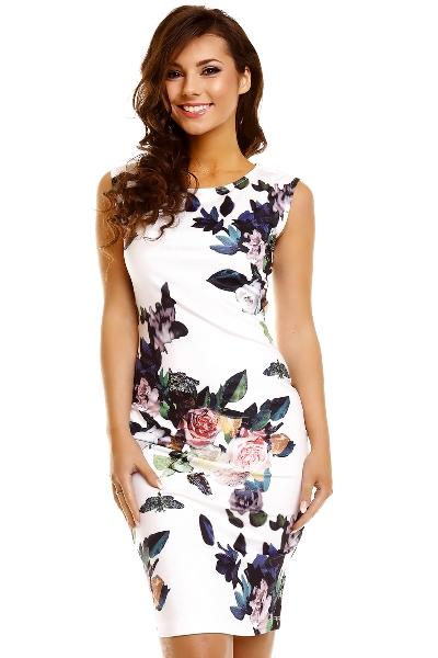 Elegantní koktejlové pouzdrové šaty ke kolenům- bílá s potiskem ... 6c5538af30