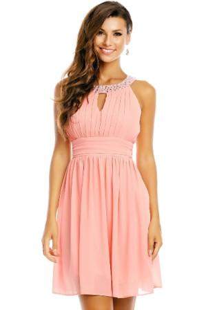 Krátké princeznovské šaty ke kolenům s volnou sukní- starorůžové 6872