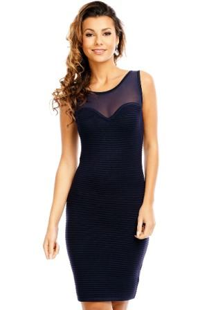 Kratší pouzdrové šaty nad kolena s průhlednou horní částí- modré 6849