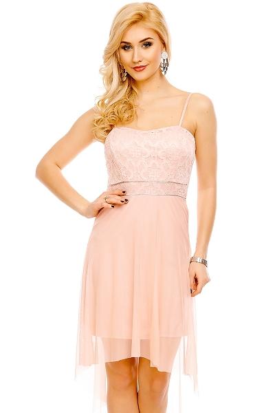 0e765d654 Krátké společenské šaty na ramínka, horní část z krajky, růžové | Amodio