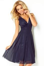 Luxusni lehke spolecenske letni saty s volnou sukni, tmave modre S-271-BE (1)