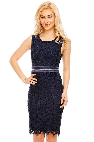 Luxusní krajkové šaty bez rukávů délky po kolena cec2376241
