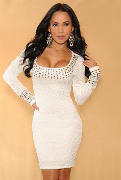 Pouzdrové elastické šaty s dlouhými rukávy 3790b5b658