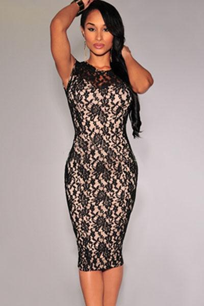 Elegantní krajkové šaty pod kolena 27c14f60b24