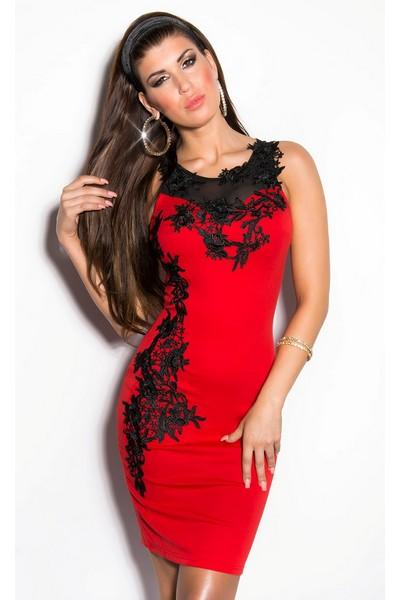 Pouzdrové šaty bez rukávů s krajkovou aplikací na přední části ... 74464cf417