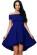 Kratke spolecenske saty se skladanou sukni a odhalenymi rameny, modre S-272-BE (1)