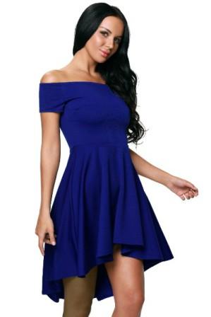 Kratke spolecenske saty se skladanou sukni a odhalenymi rameny, modre S-272-BE (2)