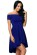Kratke spolecenske saty se skladanou sukni a odhalenymi rameny, modre S-272-BE (3)