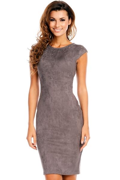 Elegantní koktejlové šaty nad kolena semišového vzhledu 56078cdb55