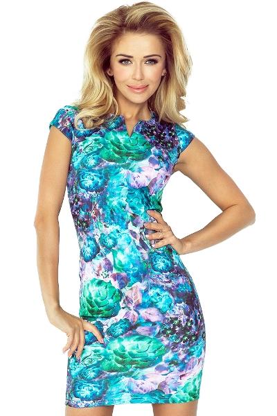 e6971cc958f4 Kratší letní společenské šaty s malými rukávy