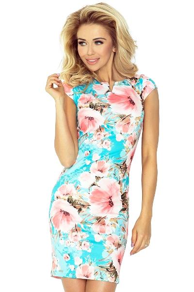 Kratší letní společenské šaty s malými rukávy 9342ab6caa8