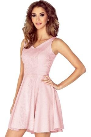 Luxusni kratke spolecenske saty s rasenou sukni, delka nad kolena, ruzove S-308-PK (1)