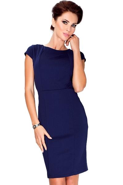 d882eebd2 Elegantní šaty nad kolena s malým výstřihem a rukávy, tmavě modré ...
