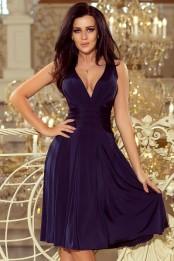 Luxusni spolecenske saty po kolena s volnou sukni, tmave modre S-312-BE (1)