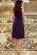 Luxusni spolecenske saty po kolena s volnou sukni, tmave modre S-312-BE (2)