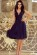 Luxusni spolecenske saty po kolena s volnou sukni, tmave modre S-312-BE (3)