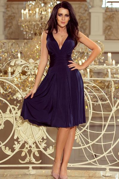 Luxusní společenské šaty po kolena s volnou sukní 8feda87e35