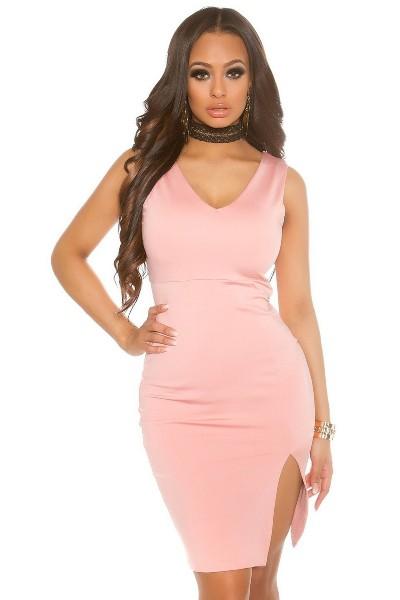 347ef2c8dc5 Elastické pouzdrové šaty se širokými ramínky a rozparkem na boku ...