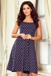 Bavlnene kratke retro saty s volnou sukni po kolena, tmave modre s puntiky S-326-BE (1)