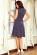 Bavlnene kratke retro saty s volnou sukni po kolena, tmave modre s puntiky S-326-BE (2)